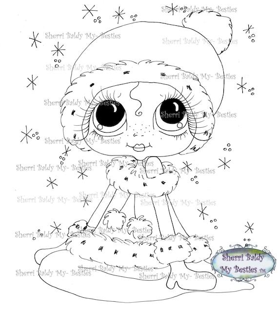 INSTANT DOWNLOAD Digital Digi Stamps Big Eye Big Head Dolls Messy Bessy Winter Besties 1 My Besties By Sherri Baldy