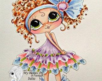 INSTANT DOWNLOAD  Digital Digi Stamps Big Eye Big Head Dolls img605 Bestie By Sherri Baldy