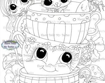 INSTANT DOWNLOAD digitale Digi Stamps Big Eye Big hoofd poppen Img153 Alice In het kijkglas Bestie door Sherri Baldy