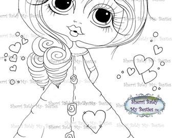 INSTANT DOWNLOAD Digi Stamps Big Eye Big Head Dolls Digi Bestie img470 By Sherri Baldy