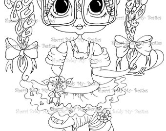 INSTANT DOWNLOAD Digital Digi Stamps Big Eye Big Head Dolls Digi  My - Besties  Besite 3 By Sherri Baldy