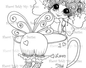 INSTANT DOWMLOAD Digital Digi Stamps Big Eye Big Head Dolls Digi My Besties New I Love Coffe I Love Tea img105 By Sherri Baldy