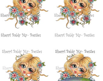 Instant Download Jancoloredprintablebk6 3D Decoupage kit Besties Big Head Dolls Digi By Sherri Baldy
