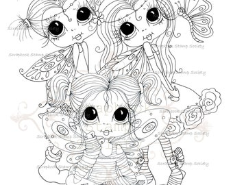 INSTANT DOWNLOAD Digital Digi Stamps Big Eye Big Head Dolls Digi  My Besties Wee Winged Girl Friends   By Sherri Baldy