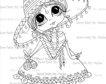 INSTANT DOWMLOAD Digital Digi Stamps Big Eye Big Head Dolls Digi Img494  By Sherri Baldy