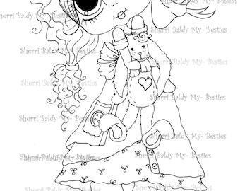 INSTANT DOWNLOAD Digital Digi Stamps Big Eye Big Head Dolls My Besties img222 By Sherri Baldy