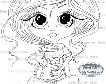 INSTANT DOWNLOAD Digital Digi Stamps Big Eye Big Head Dolls Bestie  img 147 Coffee Time My Besties By Sherri Baldy