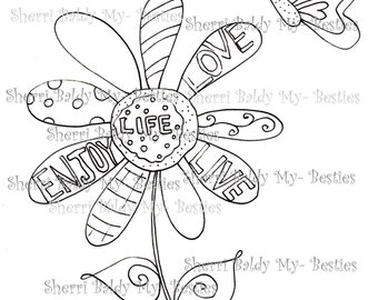 INSTANT DOWNLOAD Digital Digi Stamps Big Eye Big Head Dolls NEW My Besties img848 Love Bestie By Sherri Baldy