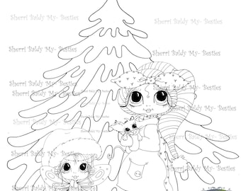 SOFORTIGER DOWNLOAD Digi Stamps Big Eye Großkopf Dolls Digi Bestie Winter Tree von Sherri Baldy