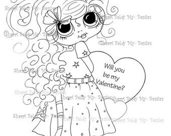 INSTANT DOWNLOAD Digital Digi Stamps Big Eye Big Head Dolls Digi  My - Besties Hearts By Sherri Baldy