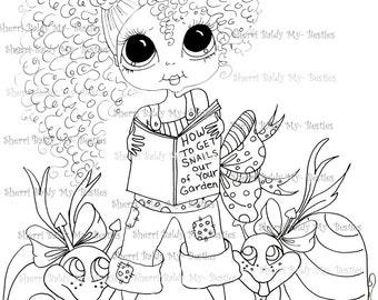 INSTANT DOWNLOAD Digital Digi Stamps Big Eye Big Head Dolls My Besties Banna Pie In the Garden By Sherri Baldy