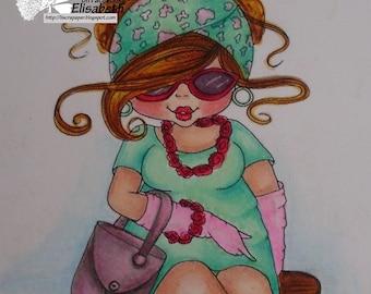 INSTANT DOWMLOAD Digital Digi Stamps Big Eye Big Head Dolls Digi Img029  New Fluffy Besties Tm  By Sherri Baldy
