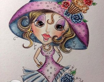 INSTANT DOWMLOAD Digital Digi Stamps Big Eye Big Head Dolls Digi Crafty Chicks img554 By Sherri Baldy