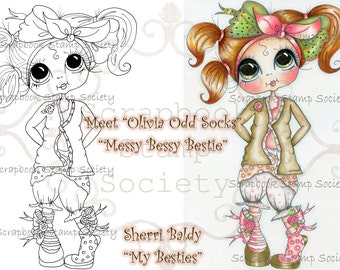 INSTANT DOWNLOAD Digi Stamps Big Eye Big Head Dolls Digi IMG670 By Sherri Baldy