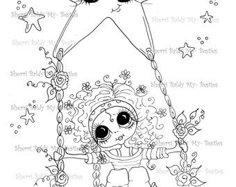 INSTANT DOWNLOAD digitale Digi Stamps Big Eye Big hoofd poppen IMG213 Swinging on a Star mijn Besties door Sherri Baldy