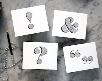 Punctuation Letterpress Postcards Variety Pack with Black Edgepainting