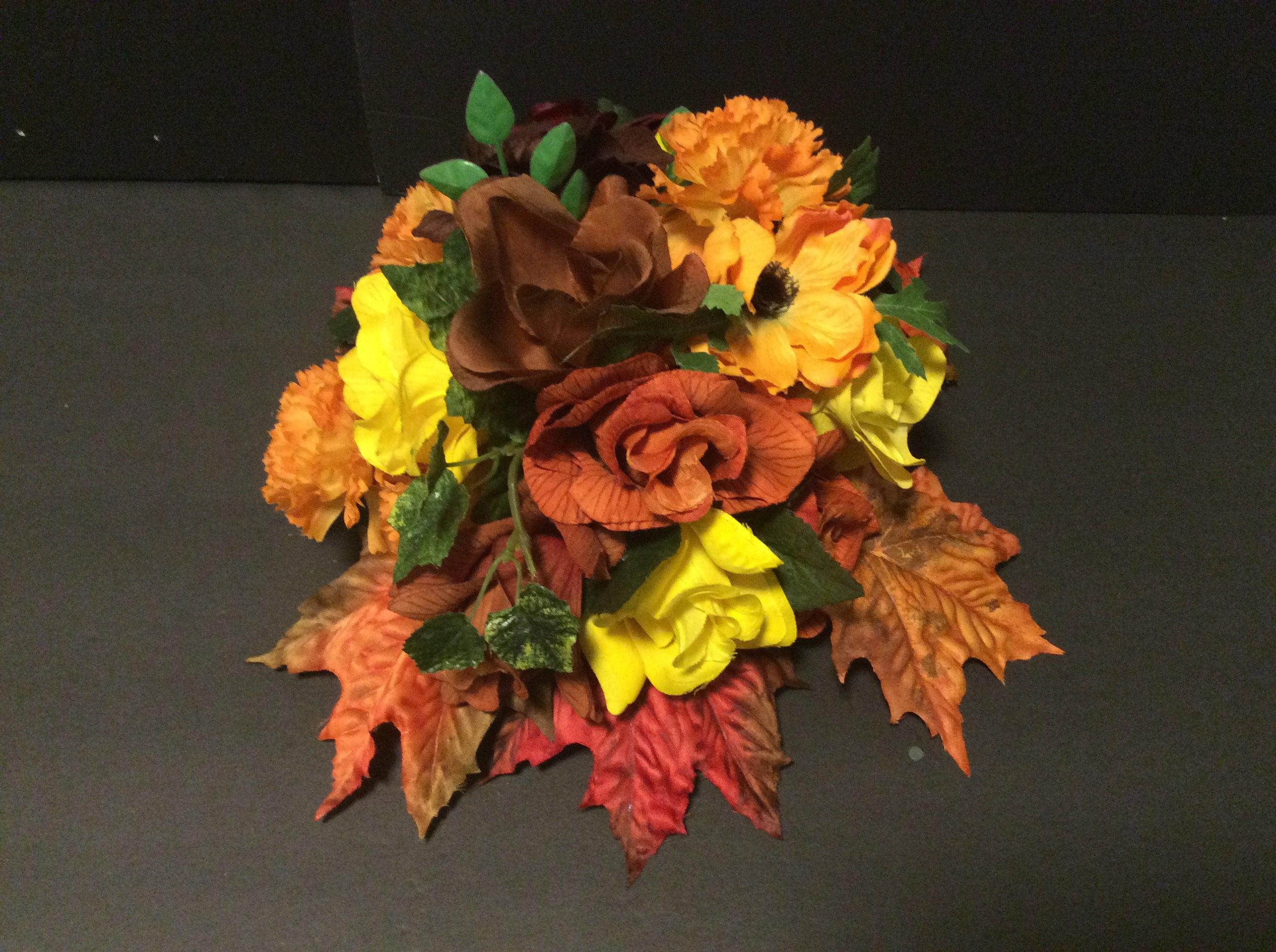Autumn Fall Silk Flowers Floral Arrangement Centerpiece Etsy