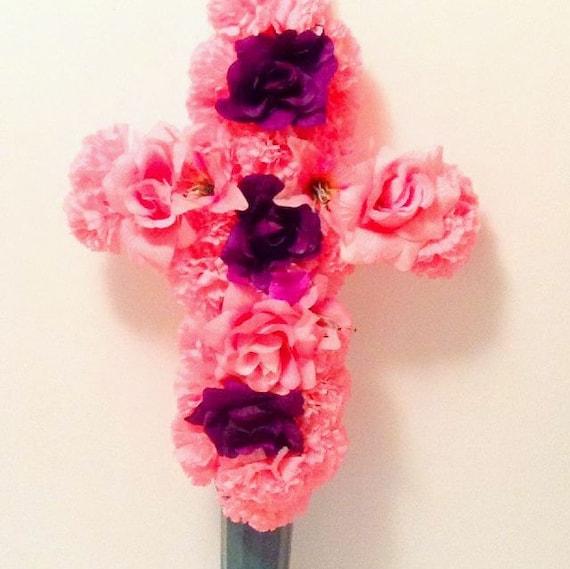 Pink Gravesite Floral Cross Cemetery Flowers Silk Flowers Etsy