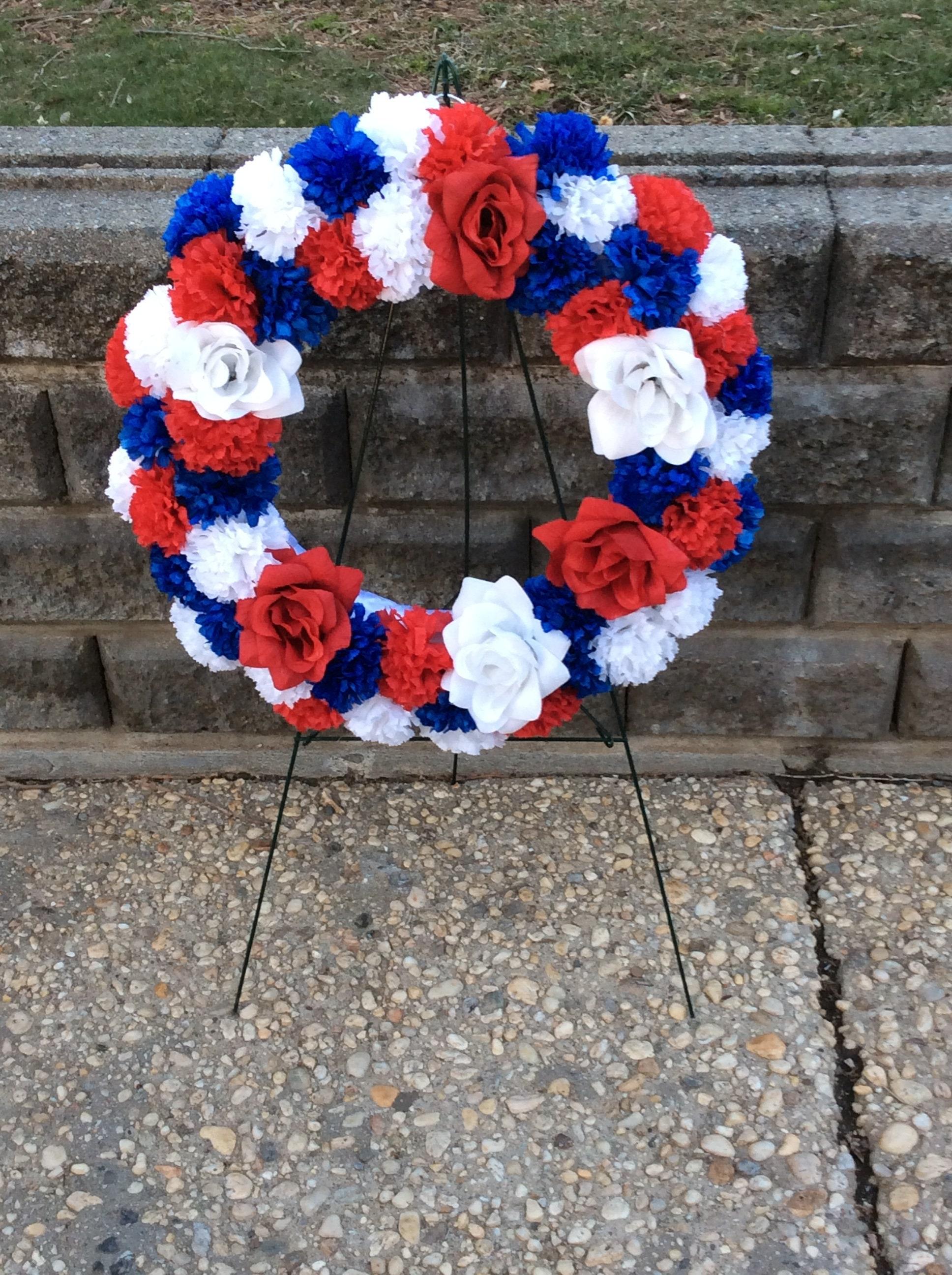 Soldiers Wreath Patriotic Flowers Military Wreath Cemetery Etsy