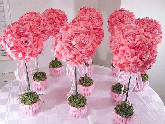 Set of 10 pink flower arrangements silk flower table etsy image 0 mightylinksfo