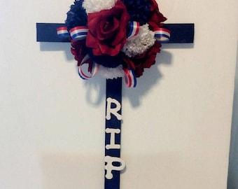 "Patriotic Cemetery Flowers, Grave Flowers, Cemetery Cross, RIP Grave Marker, Memorial Cross, 24"" H"