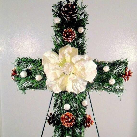 Christmas gravesite memorial cross cemetery flowers funeral etsy image 0 mightylinksfo