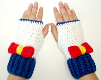 Nautic Sailor  Fingerless Gloves-Anime Gloves- Sailor Accessories-Crochet gloves-Women Gloves-Birthday Gift-Winter Glove