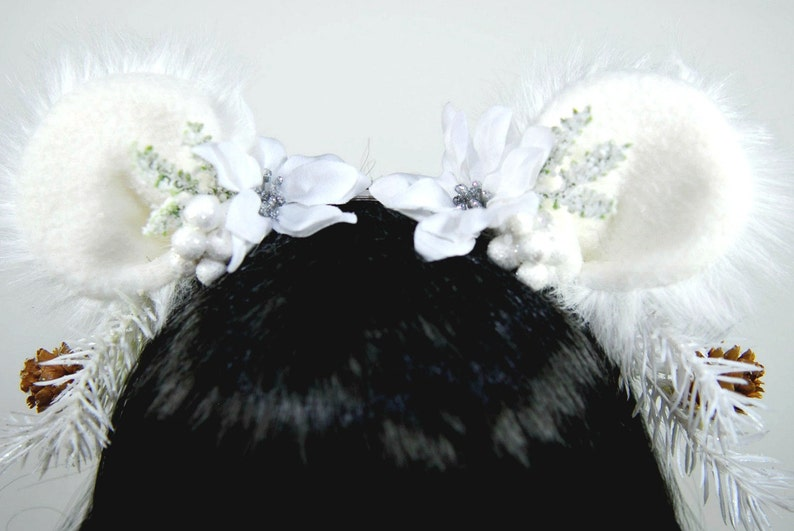 Bear Headband-Lolita-Animal Headband-Cosplay-White-Woodland-Bear Ears-Gift For Women-Halloween-Winter-Christmas Gift