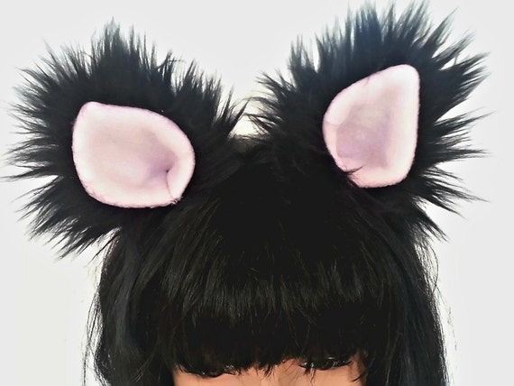 Black Cat Ears Halloween Costume Cosplay Cat Ears And Tail For Etsy