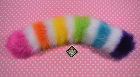 Fairie Kei harajuku,Fox Tail Black and Fuchsia Stripe Cat Tail,Halloween,Cat Cosplay,Kitten costume,DDLG,BDSM,Cat Costume,Anime,Lolita