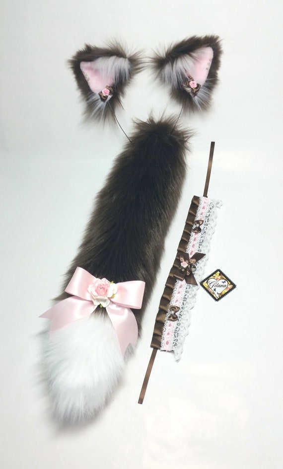 Brown Cat Ears And Tail Realistic Cat Ears And Tail Cat Ear Etsy