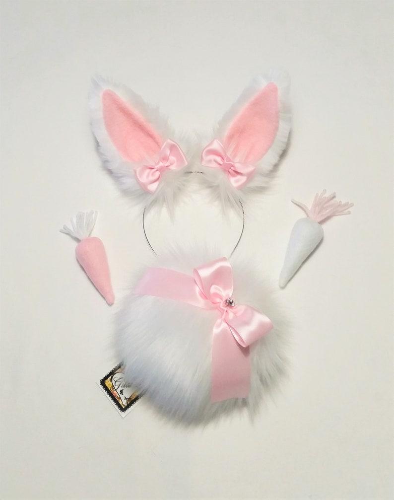 Bunny Tail,Bunny Ears,Bunny Ears Headband,Pet play,Bunny Costume,Cosplay Lolita,Farie Kei,Harajuku,Halloween,Easter,Valentine