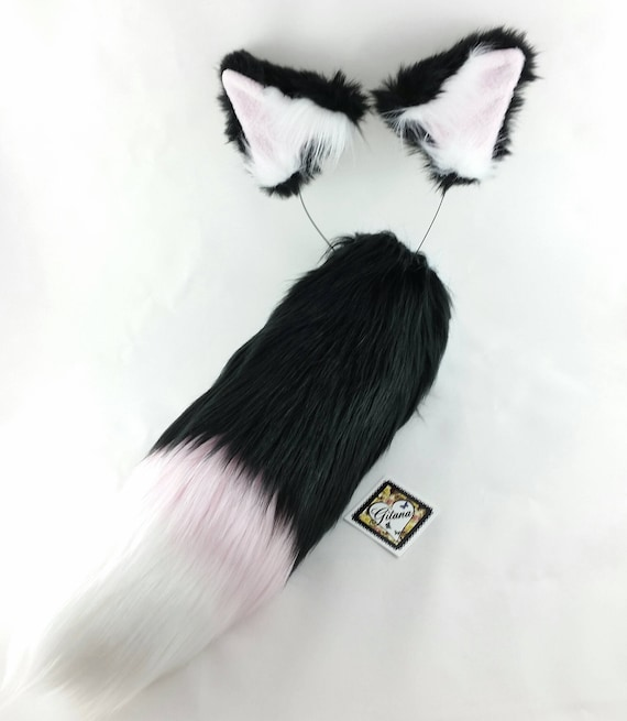 Black And White Cat Ears And Tail Realistic Cat Costume Cat Etsy