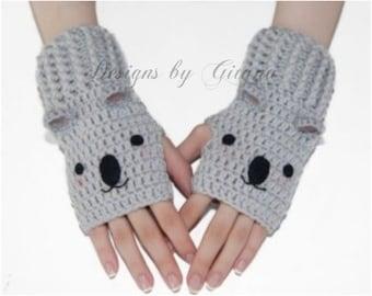 Koala Fingerless Gloves-Mittens-Wrist Warmers-Kawaii-Fingerless Gloves-Grey-Christmas Gift-Crochet Gloves