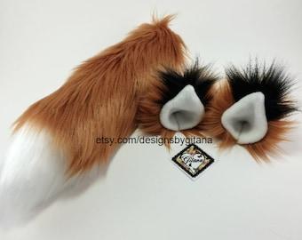 Fox Ears And Tail-Realistic-Fox Tail-Fox Ear and Tail For Kids-Fox Ears-Kid Costume-Fox ear headband-Fox Costume-Halloween-Cat ears and tail
