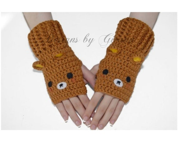 bear fingerless gloves mittens women gloves winter etsy. Black Bedroom Furniture Sets. Home Design Ideas