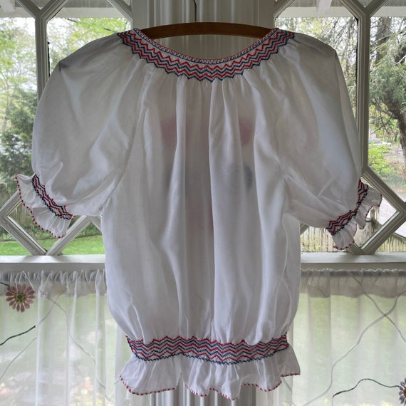 Vintage 60s Hungarian Embroidered Blouse/60s Peas… - image 5