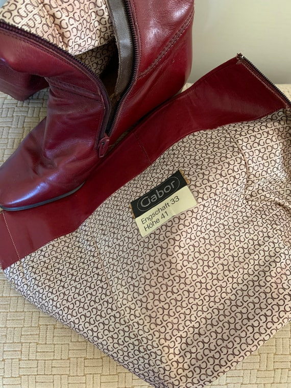 Gabor vintage cherry red tall leather boots/ Vint… - image 5