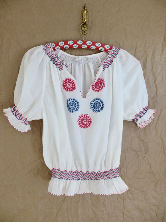 Vintage 60s Hungarian Embroidered Blouse/60s Peas… - image 7