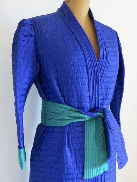 Vintage 80s Reversible Quilted Silk Robe/2 Tones S