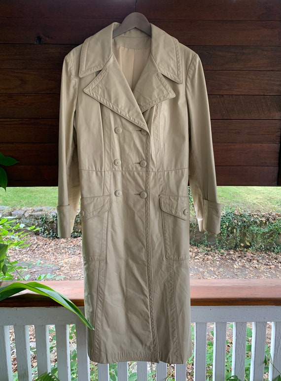 70s Vintage leather trench coat/Double breasted l… - image 3