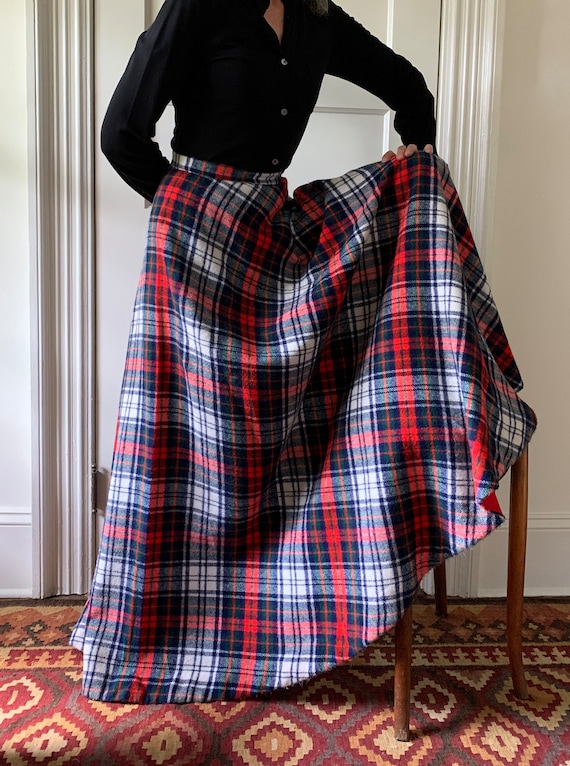 Tartan plaid maxi skirt/ Vintage maxi plaid skirt… - image 1