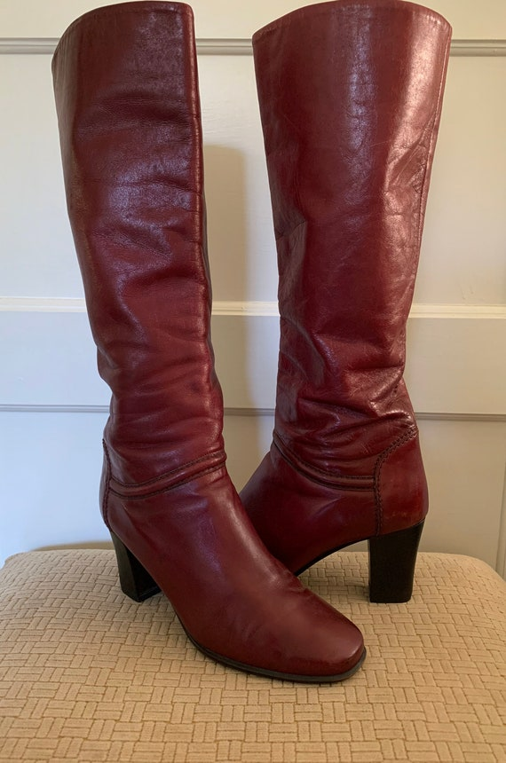 Gabor vintage cherry red tall leather boots/ Vint… - image 4