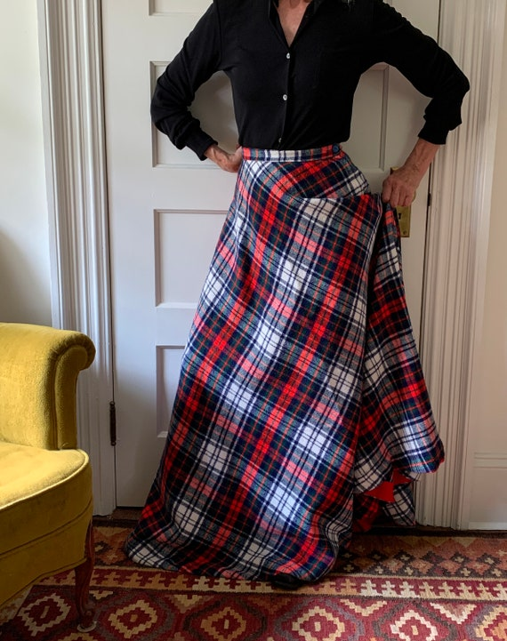 Tartan plaid maxi skirt/ Vintage maxi plaid skirt… - image 3