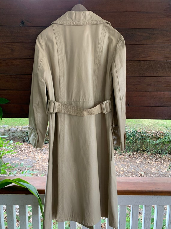 70s Vintage leather trench coat/Double breasted l… - image 6