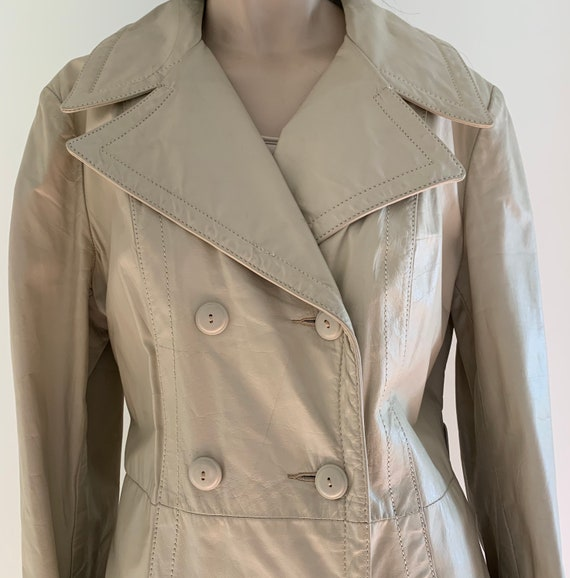 70s Vintage leather trench coat/Double breasted l… - image 10