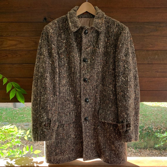 50s Mens Boucle Wool Lined Winter Overcoat/Mens 50