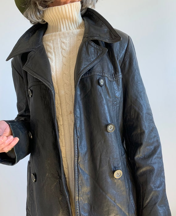 80s vintage double breasted lamb leather jacket/ M