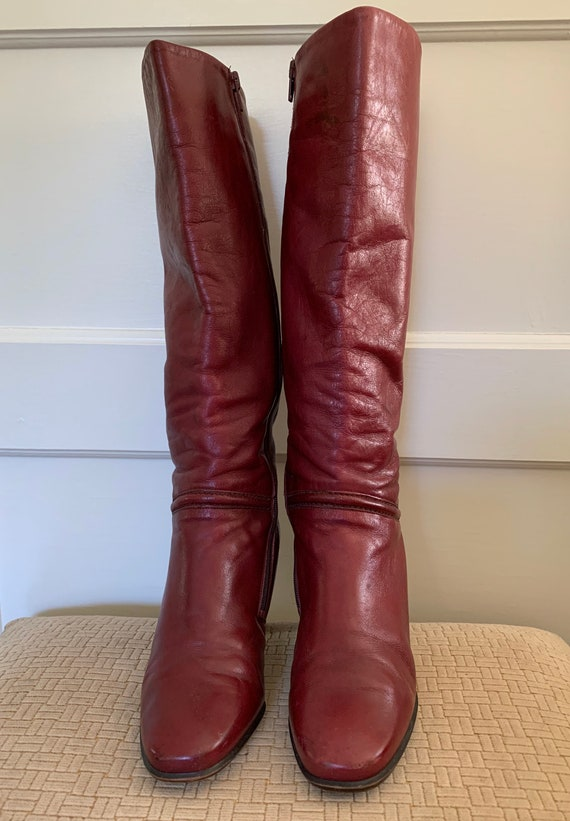 Gabor vintage cherry red tall leather boots/ Vint… - image 1