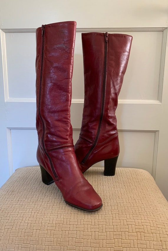 Gabor vintage cherry red tall leather boots/ Vint… - image 3